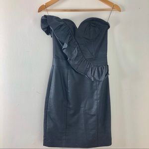 French Connection strapless black dress.
